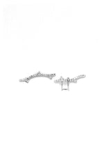 Double Thorn Pave Silver Earring