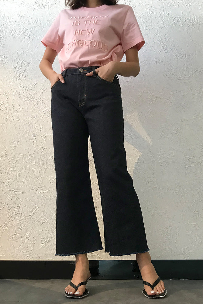 Cropped Mid-Rise Wide-Leg Jeans