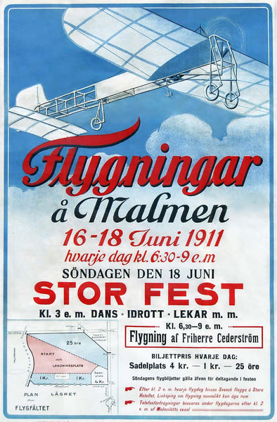 Airplane show poster malmen Restored