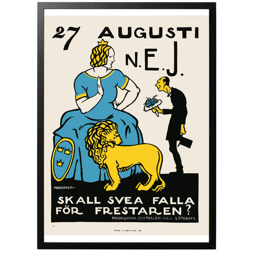 August 27 No Swedish prohibition poster with frame