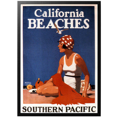 Californian Beaches vintage travel posters with frame