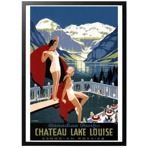 Chateau Lake Louise vintage canadian travel poster with frame