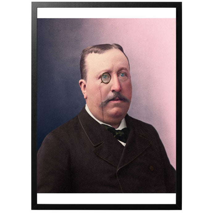 Baron de Charnel Colourized vintage photography with frame