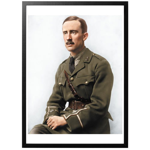 J.R.R. Tolkien Colourized vintage photograph with frame
