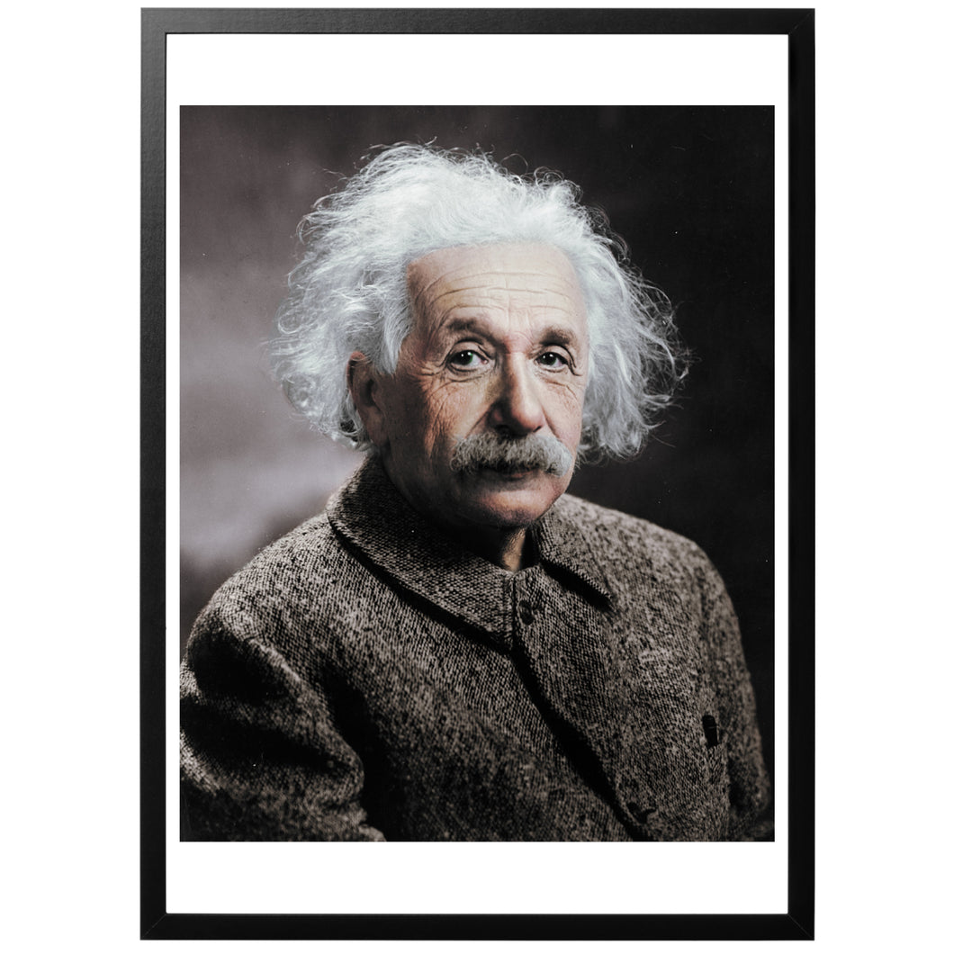 Albert Einstein Photography Colourized with frame