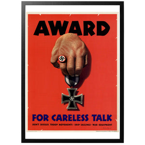 Award for Careless Talk Poster - World War Era
