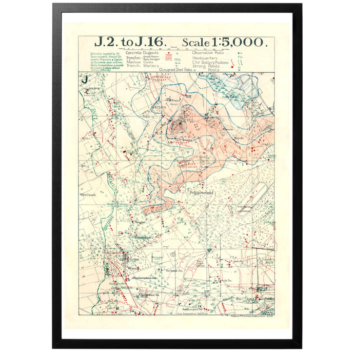 British Belgium WW1 War Map Poster - World War Era