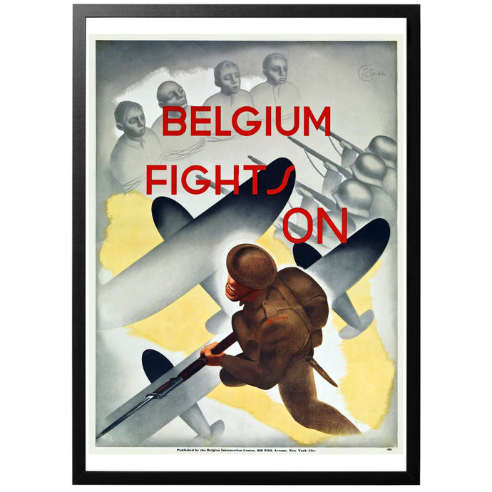 Belgium Fights On Poster - World War Era
