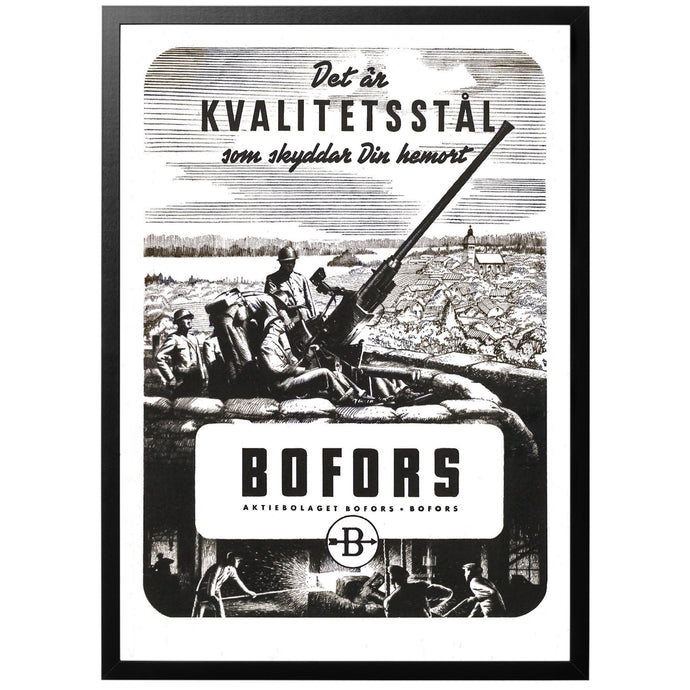 A very rare advertisement(!) for the Swedish weapons producer Bofors, showing of their famous 40 mm automatic anti-air gun.