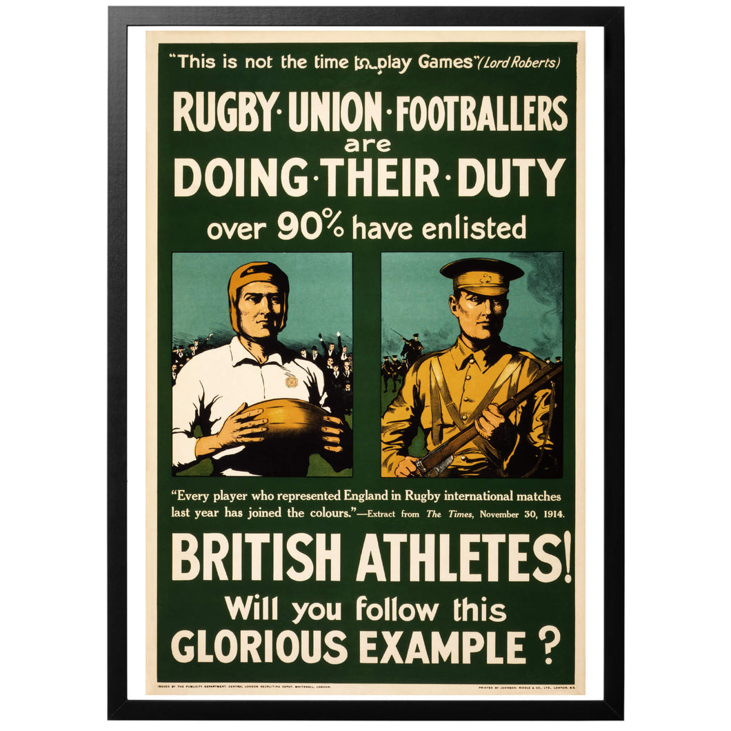 British Athletes! Will you follow this Glorious Example? Poster - World War Era