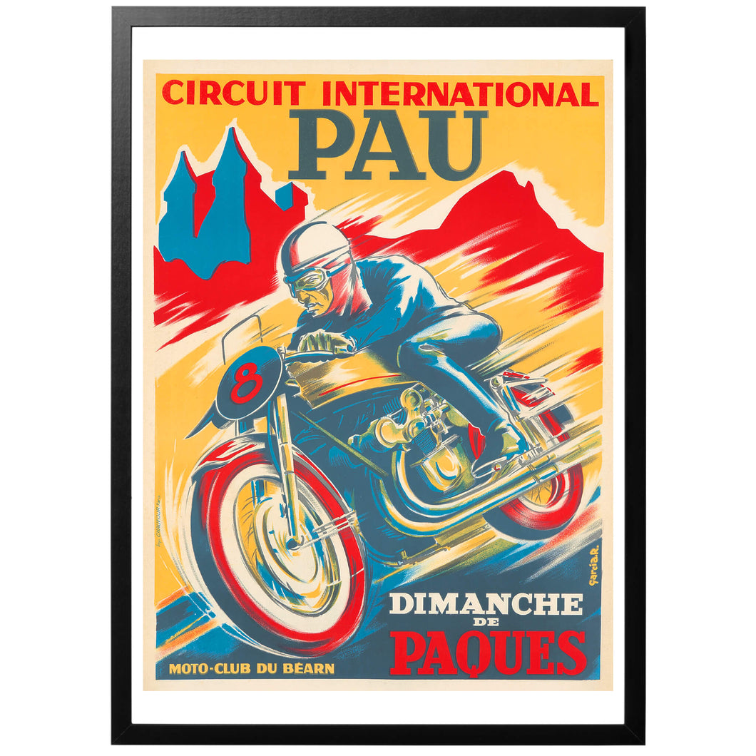 Circuit International Pau Poster - World War Era - french racing automotive motor cykle poster