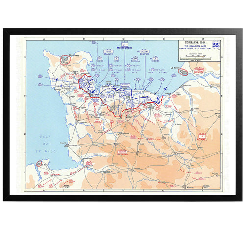D-day Invasion - War Map Poster - World War Era