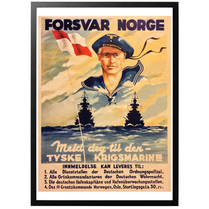 Defend Norway Kriegsmarine Poster - World War Era