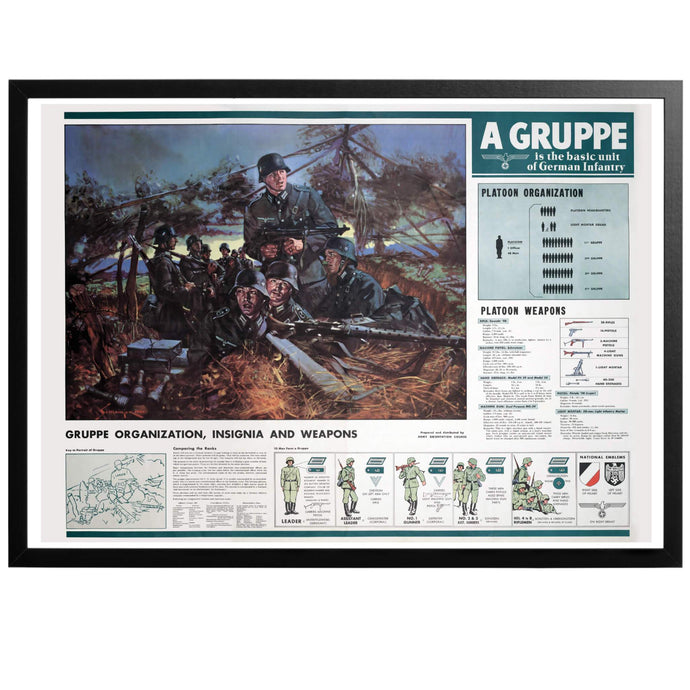 German Gruppe Organisation and Weapons Chart Poster - World War Era