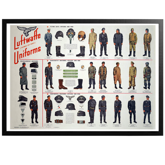 German Luftwaffe Uniforms Chart Poster - World War Era