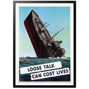 Loose Talk can Cost Lives Boat Poster - World War Era
