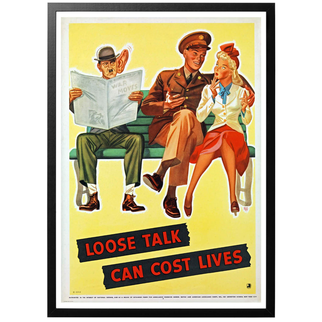 Loose Talk Can Cost Lives Overhead Poster - World War Era