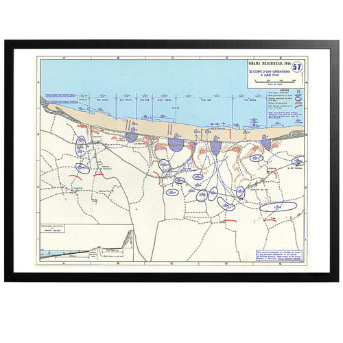 Omaha beachhead War Map Poster - World War Era
