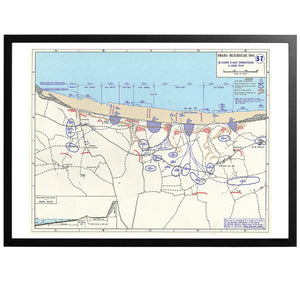 Omaha beachhead War Map Poster