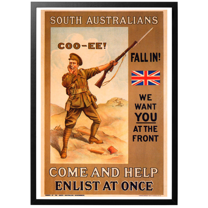South Australians, Fall In! Poster - World War Era