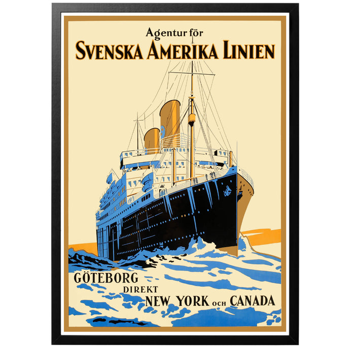 Swedish American Line Poster - World War Era