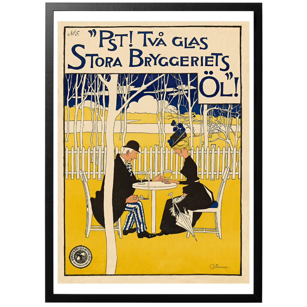 Pst! Two glasses of the  great brewery's beer! Poster - World War Era