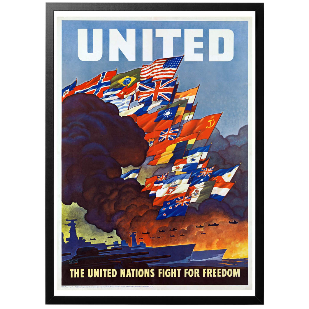United! United nations fight for Freedom Poster - World War Era