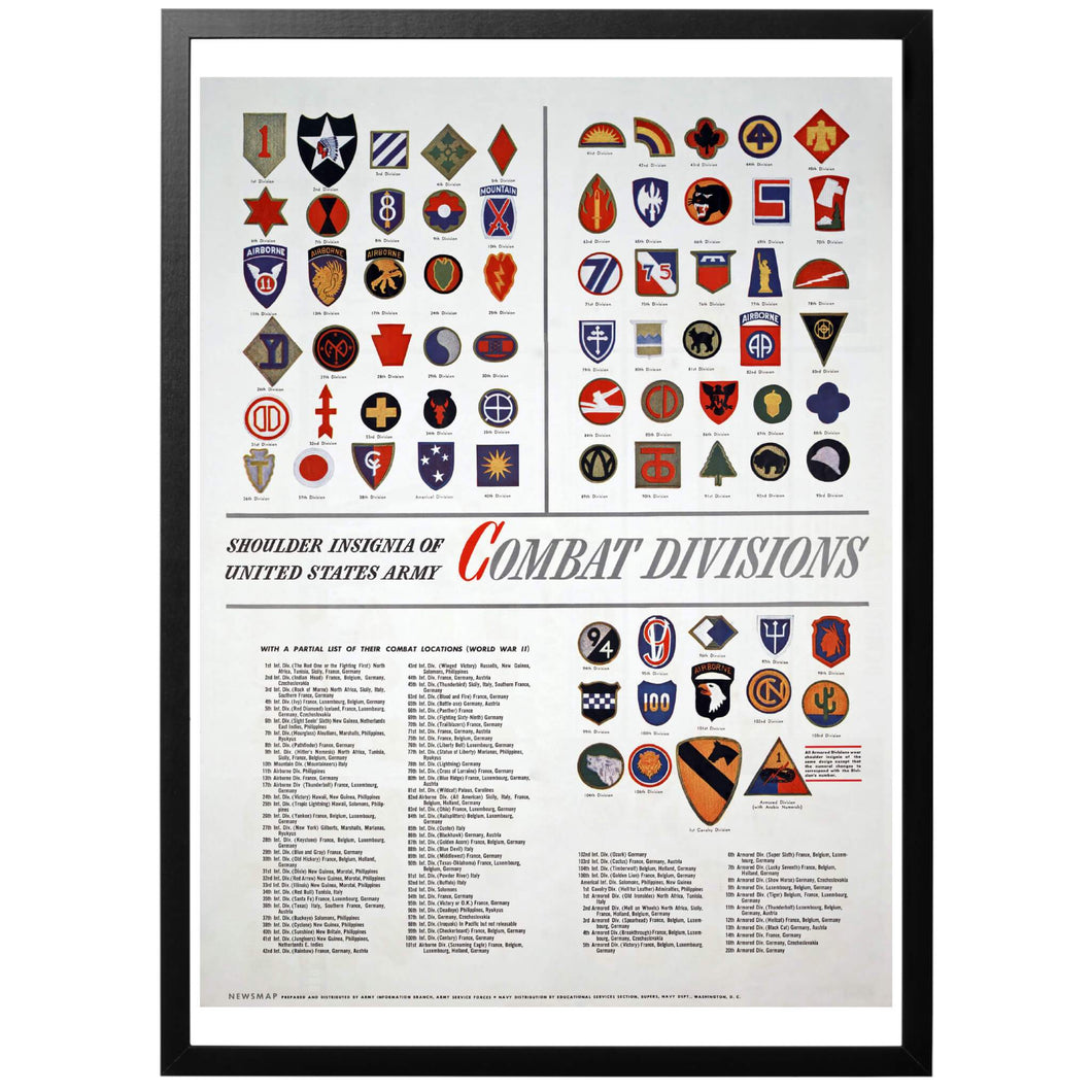 US Army Shoulder Insignia Poster - World War Era