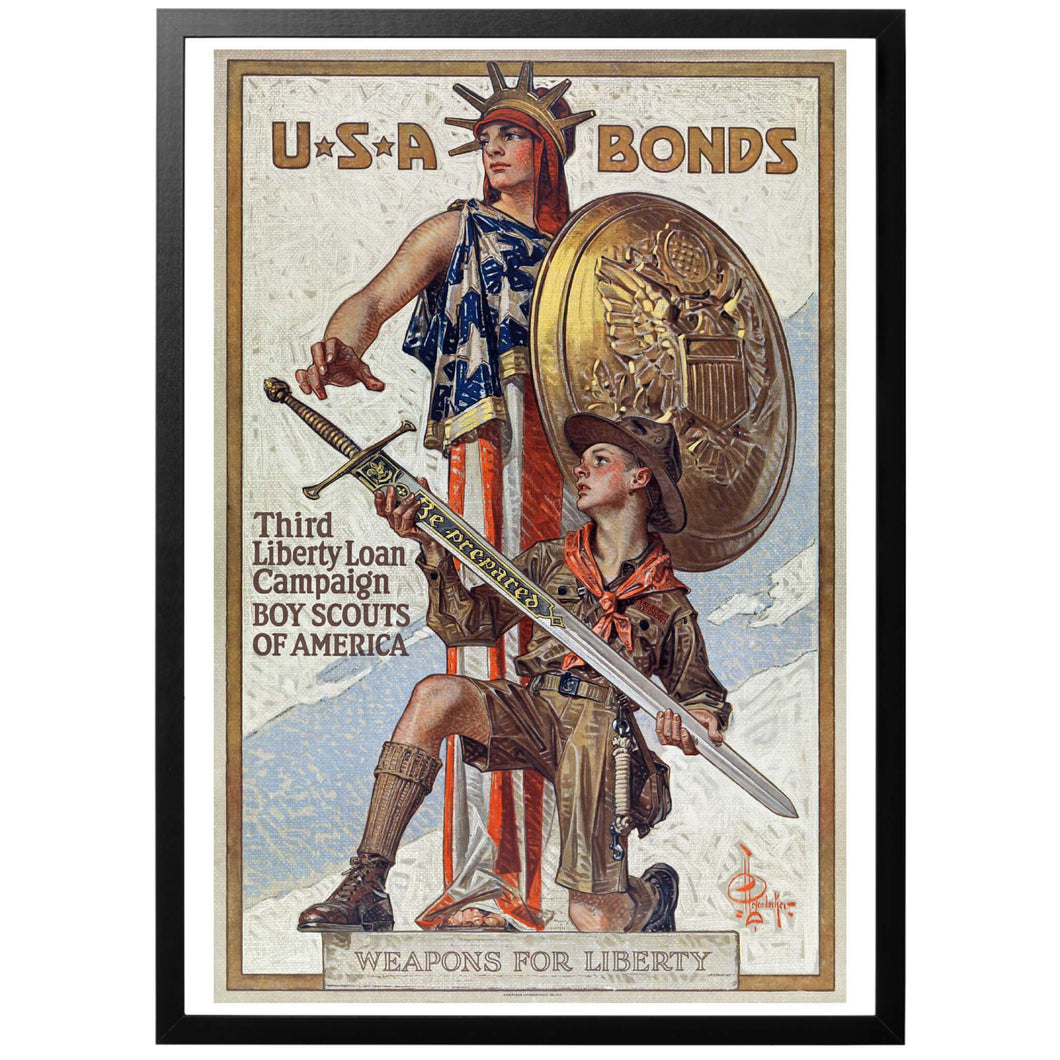 USA Bonds Boy Scouts of America Poster - World War Era