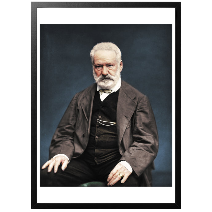 Colourized vintage photography of Victor Hugo with frame