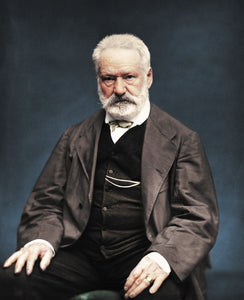 Colourized vintage photography of Victor Hugo without frame