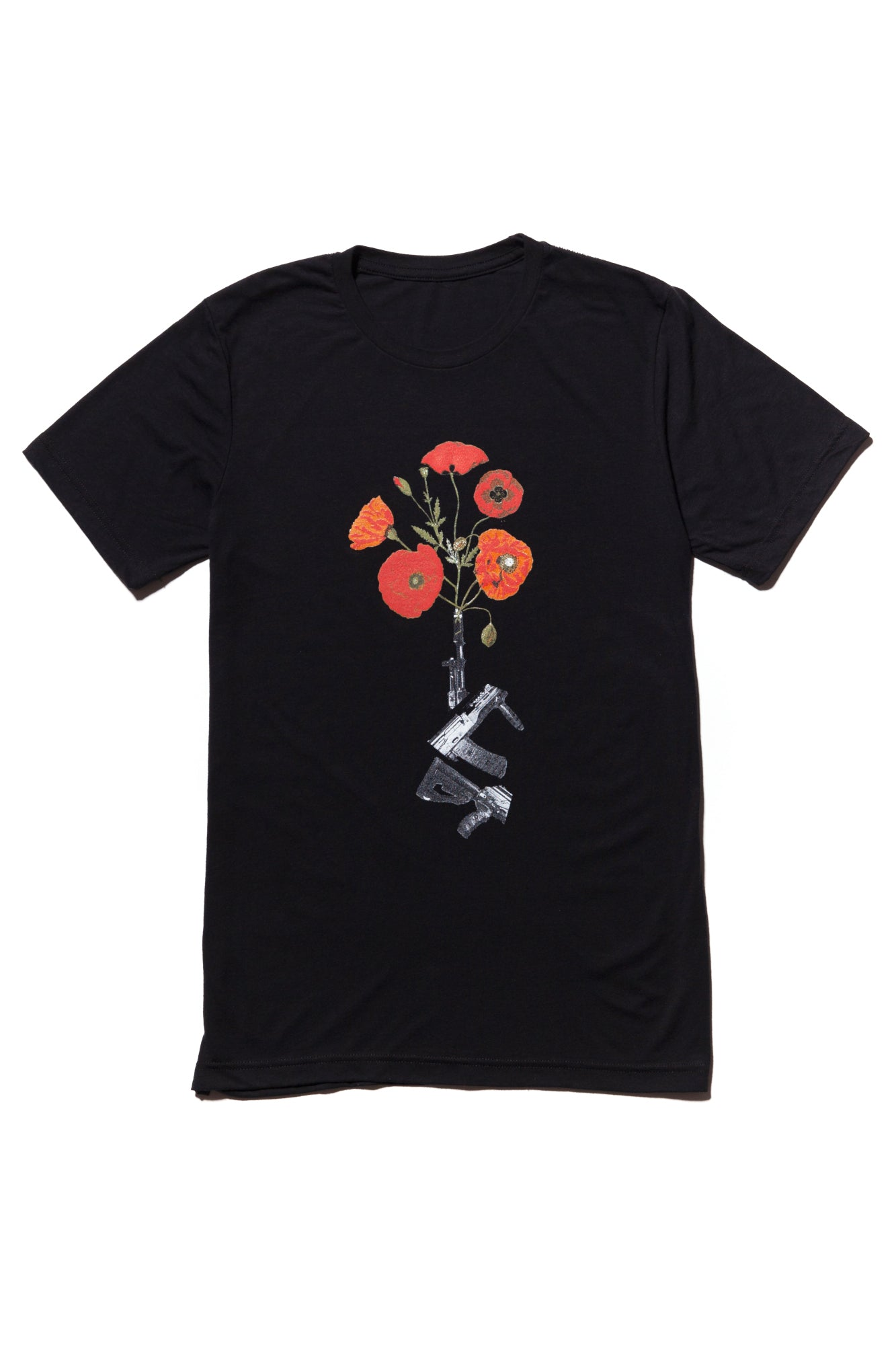 soundoff.mens.black.t.shirt.graphic.tee.give.peace.a.chance.cotton.polyester.rayon.blend.