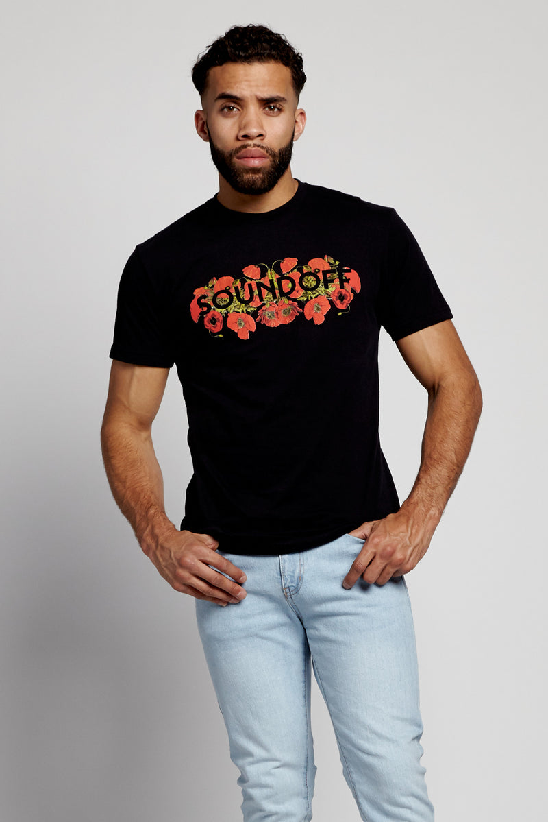 soundoff.mens.black.t.shirt.graphic.poppies.poppy.flowers.cotton.polyester.blend.