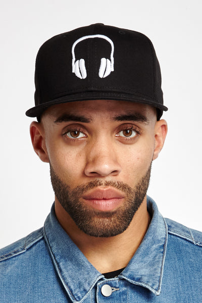 SOUNDOFF Headphones Snapback; White Embroidery on Black