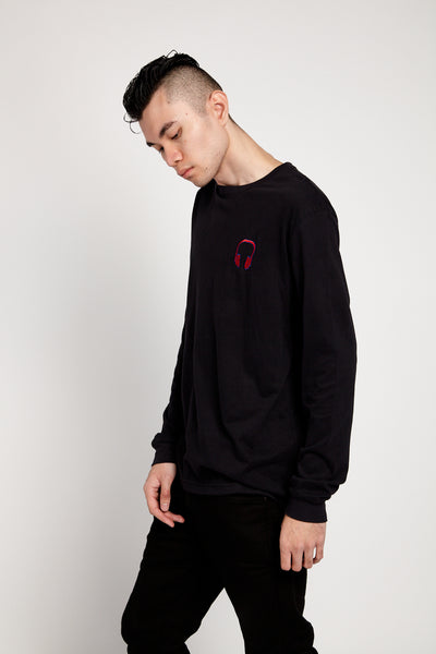 SOUNDOFF HEADPHONES EMBROIDERED LONG SLEEVE SUEDED T-SHIRT