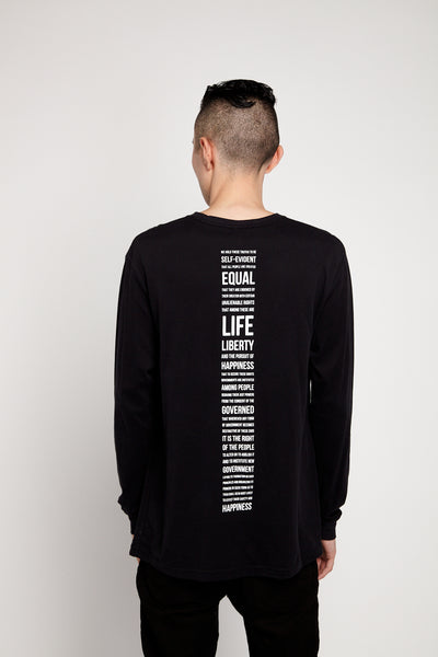 SOUNDOFF HEADPHONES EMBROIDERED LONG SLEEVE SUEDED T-SHIRT WITH PREAMBLE BACK