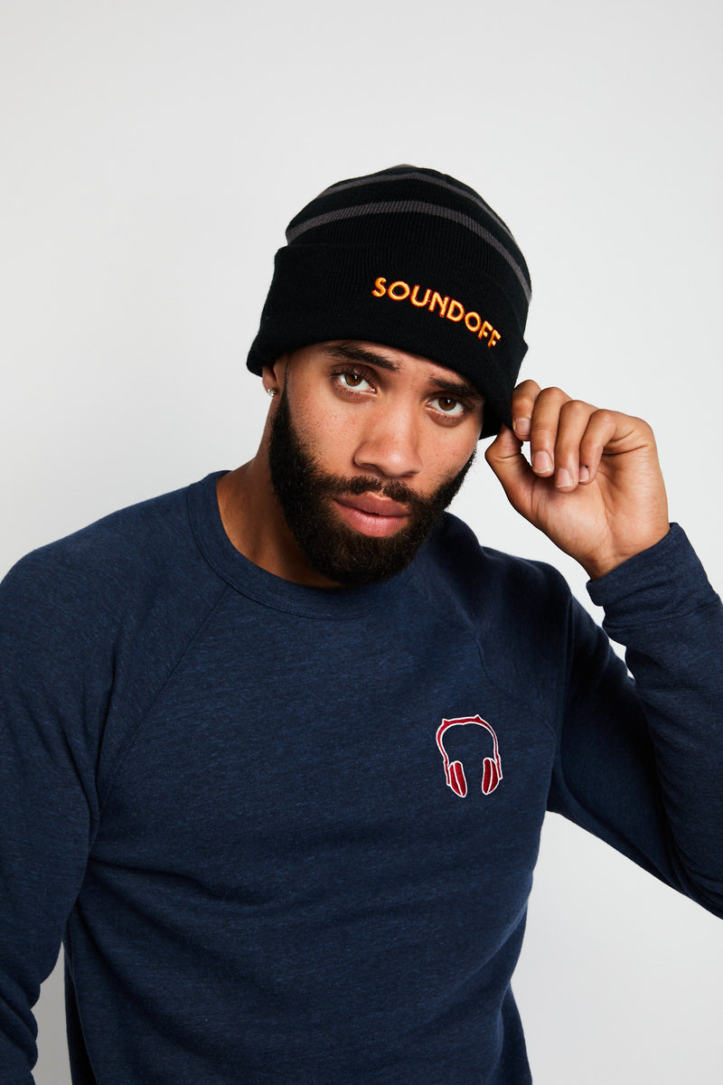 SOUNDOFF EMBROIDERED BLACK & IRON GRAY STRIPED FLEECE BEANIE