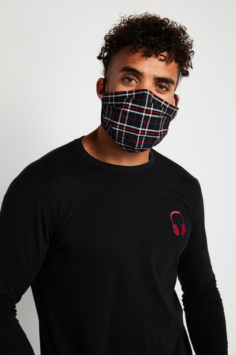 SOUNDOFF Handcrafted Face Mask - Navy/Red/White Plaid