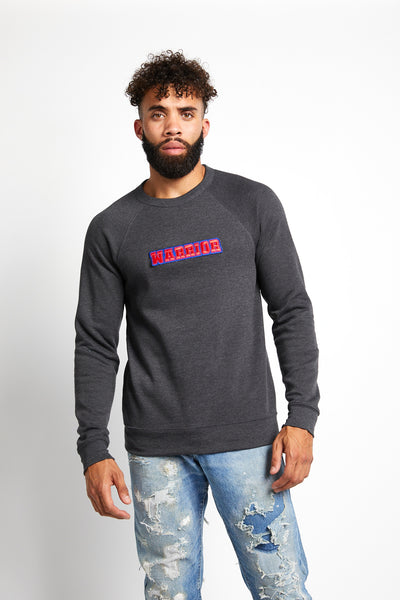 WARRIOR VARSITY CREWNECK SWEATSHIRT; DARK GRAY HEATHER