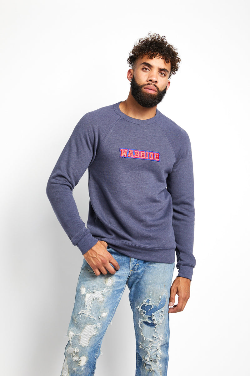 WARRIOR VARSITY CREWNECK SWEATSHIRT; NAVY HEATHER