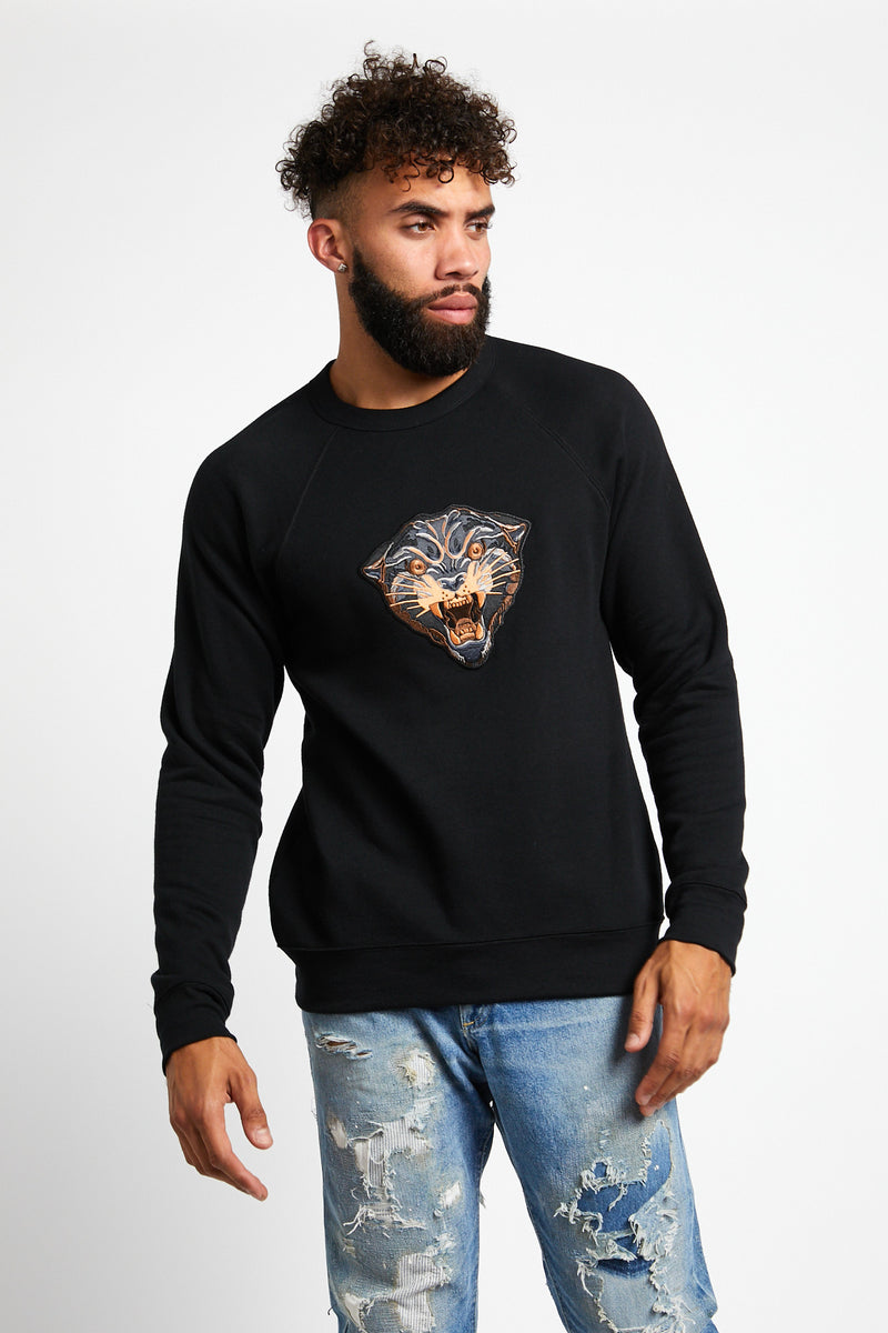 mens.womens.black.panther.patch.sweatshirt.cotton.polyester