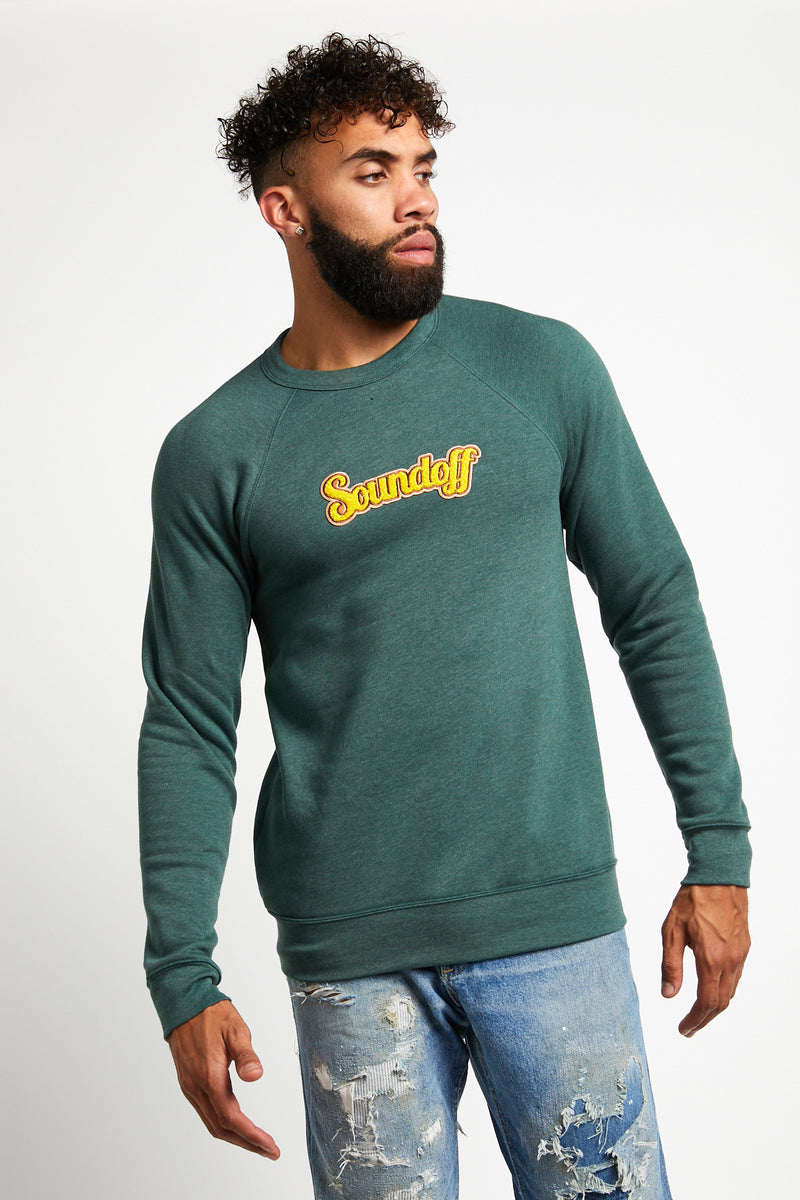 SOUNDOFF VARSITY CREWNECK SWEATSHIRT; HEATHER FOREST