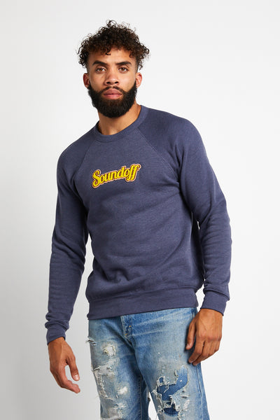 SOUNDOFF VARSITY CREWNECK SWEATSHIRT; NAVY HEATHER