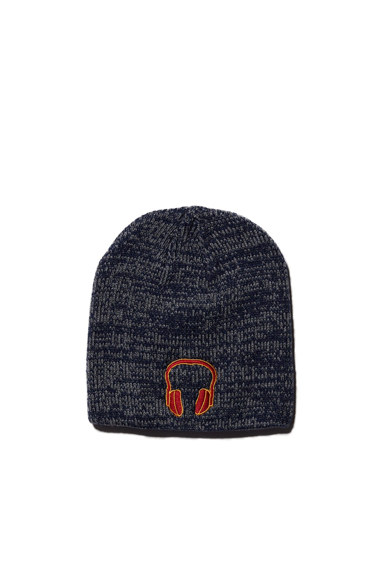 HEADPHONE EMBROIDERED NAVY & DARK GRAY MARLED KNIT BEANIE