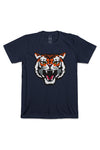SAVAGE BEAST MASCOT SUEDED T-SHIRT; MIDNIGHT NAVY