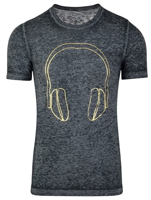 GOLD METALLIC Headphones Logo on Black Acid Wash T-shirt