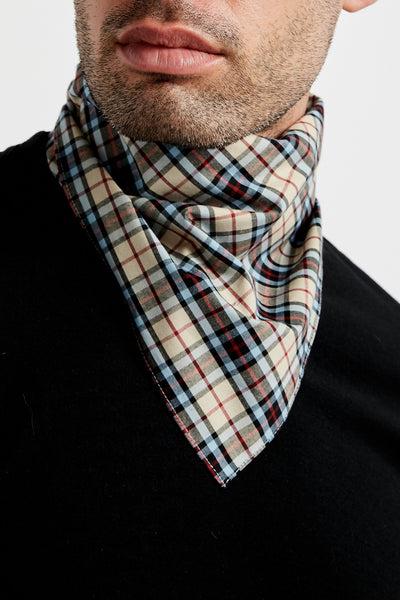SOUNDOFF CUSTOM BANDANA; KHAKI/SKY/WINE TARTAN PLAID