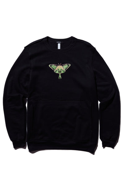 A MOTH TO A FLAME RAW SEAM SWEATSHIRT; BLACK