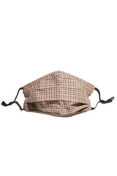 SOUNDOFF Handcrafted Face Mask - Tan/Black/White/Red Plaid