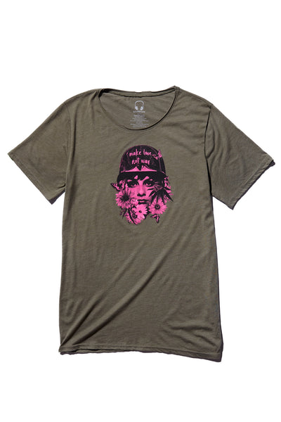 MAKE LOVE, NOT WAR; OLIVE TRIBLEND T-SHIRT